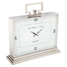 NEW Antique Style Large Nickel plated Stainless Steel Mantle Piece Clock Mantel Clocks, Clock Decor, Clocks For Sale, Mantle Piece, Interiors Online, Large Clock, Viera, Decorative Accessories, The Hamptons