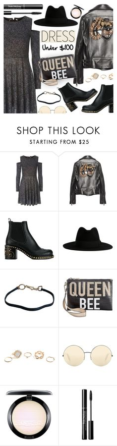 """Winter Dresses Under $100"" by dora04 ❤ liked on Polyvore featuring Topshop, Gucci, Miu Miu, Yves Saint Laurent, Prada, Circus by Sam Edelman, GUESS, Victoria Beckham, MAC Cosmetics and under100"