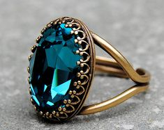 Dark Teal Blue Crystal Cocktail Ring Crown Ring Swarovski Crystal Teal Blue Peacock Cocktail Ring Mashugana