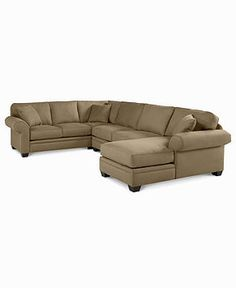 "Raja Fabric Microfiber Sectional Sofa, 3 Piece (Right Arm Facing Chaise, Armless Apartment Sofa, Left Arm Facing Sofa) 139""W x 65""D x 98""D x 37""H - furniture - Macy's"