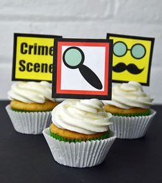 Detective Printable Cupcake Toppers~Perfect for a detective or Sherlock Holmes party!