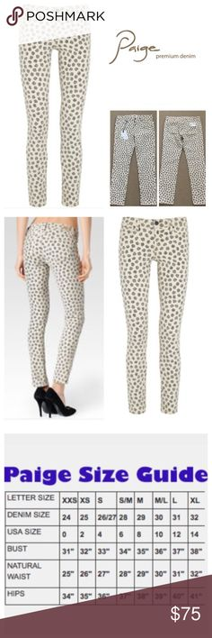 """Paige Black Rose Printed Skyline Skinny Jeans. NWT Paige Cream/Black Faded Rose Skyline Ankle Peg Mid Rise Skinny Jeans, 98% cotton, 2% elastanne, machine washable, 30"""" waist, 9"""" front rise, 13.5"""" back rise, 28"""" inseam, 12"""" leg opening all around, stretchy, five pockets, belt loops, zip fly button closure, Paige leather patch on back waistband, measurements are approx.  NO TRADES Paige Jeans Jeans Skinny"""