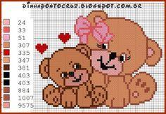 Bom fim de semana a todos!  Hoje deixo pra vocês novas versões da minha ursinha:     aqui o casal de ursinhos     ursinho com 37 pontos     ...