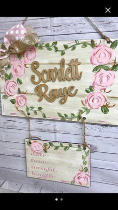 Hospital Door Signs, Hospital Door Hangers, Baby Door Hangers, Baby Shower Gift Basket, Baby Shower Gifts, Baby Gifts, Birth Announcement Sign, Baby Name Signs, Baby Door Signs