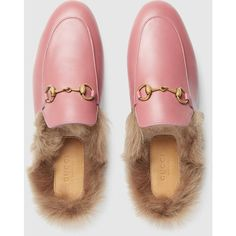 Gucci Princetown Leather Slipper (€765) ❤ liked on Polyvore featuring shoes and slippers