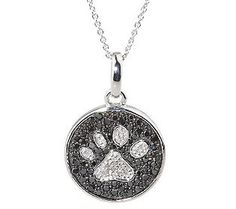 AffinityDiamond 1/2 ct tw Pave Paw Print Sterling Pendant w/Chain