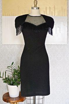 Vintage 1980s Beaded Fringe + Little Black Dress