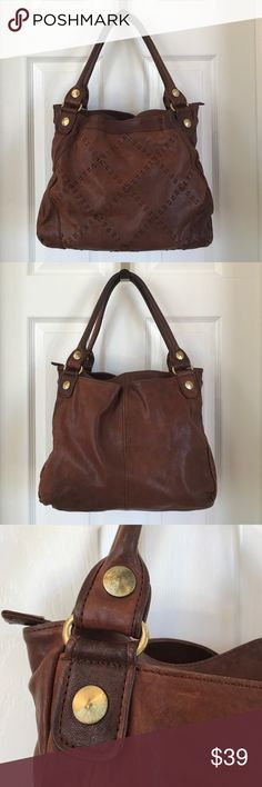 "Chocolat Blu Handbag Chocolat Blu brown leather handbag. Large bag that will carry a tablet, bottled water, and snacks for the shopping day!  Measures 14"" w x 11"" h. Shoulder drop is 9"". Shows signs of wear, but the leather still has long life. Chocolat Blu Bags Hobos"