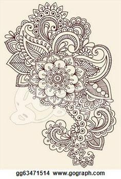 henna lace drawings   Clip Art - Henna Paisley Flowers Mehndi Tattoo Doodles Design ...