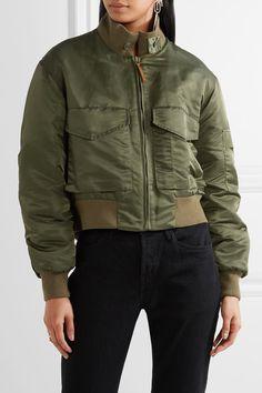 Nili Lotan - Mcguire Satin-twill Bomber Jacket - Army green