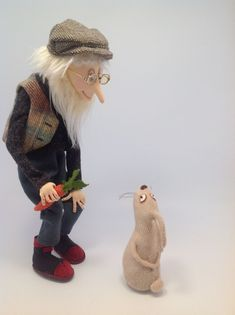 Flint the old gardener and his friend Roger Rabbit - Cloth Doll Pattern by Jill Maas