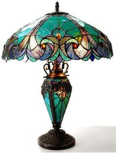 Chloe Lighting Liaison Tiffany-Style Victorian 3 Light Double Lit Table Lamp with Shade, x 18 x Multicolor -- More info could be found at the image url. (This is an affiliate link) Stained Glass Lamps, Mosaic Glass, Glass Art, Cut Glass, Lampe Retro, Design Light, Louis Comfort Tiffany, Tiffany Glass, Tiffany Art