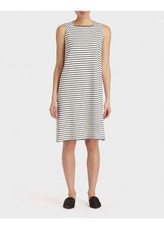 Striped Punto Milano Square Neck Dress