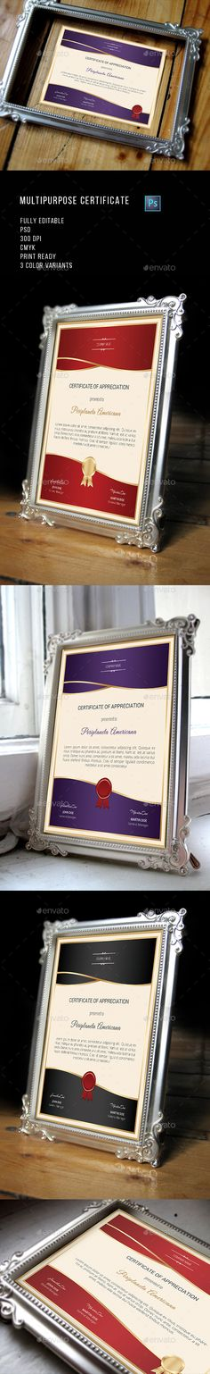 Multipurpose Certificate Template PSD. Download here: http://graphicriver.net/item/multipurpose-certificate/13177095?ref=ksioks