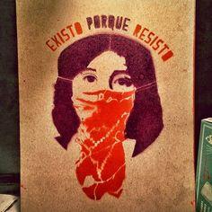 """Existo Porque Resisto"" (""I exist because I resist"") Photo credit: Federico Zuvire Chicano Studies, Chicano Art, Feminist Tattoo, Feminist Art, Oaxaca Art, Mujeres Tattoo, Girl Power Tattoo, Mexican Problems, Cool Album Covers"