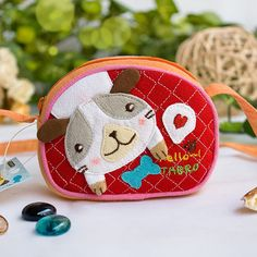 [Puppy & Bone] Embroidered Applique Swingpack Bag Purse / Wallet Bag / Coin Purse (3.9*3.3)
