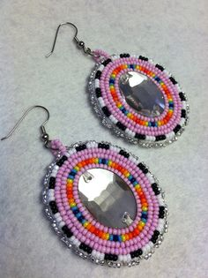 Native American Beaded earrings pink by Oglalawin on Etsy, $35.00