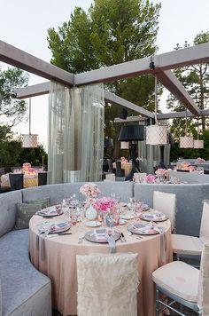 Elegant pink & gray tabletop setting.