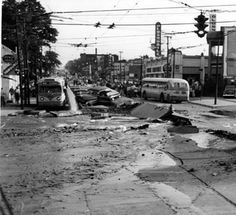 On September 10, 1953 a series of explosions believed to have been caused by sewer gases tore up West 117th St. from Lake Ave. south to Berea Rd. The explosions left one women dead, injured over 60 others, and destroyed property and automobiles all along Lakewood's eastern border. Image is looking south along West 117th St., from Clifton Blvd. the day of the explosion. Lakewood Ohio, Akron Ohio, Cleveland Rocks, Cleveland Ohio, The Buckeye State, County Seat, Beautiful Sites, City State, Best Location