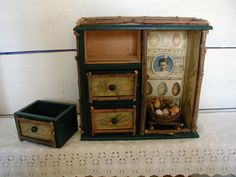 Assemblage Art Shadowbox Cabinet with Drawers Dark Green Nature Theme Rustic Colors  OOAK