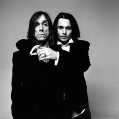 Interview Magazine listens in while Johnny Depp and Iggy Pop reminisce over the phone. Depp first met Iggy Pop in the early when Depp's band, The Kids, got a chance to open for Iggy. Johnny Depp, Here's Johnny, Iggy Pop, Men In Black, Black And White, The Stooges, Javier Bardem, Actors Images, Anthony Hopkins
