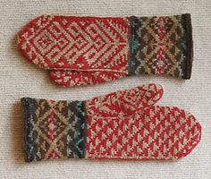 Ravelry: Kilim mittens pattern by Carol Sunday Mittens Pattern, Knit Mittens, Knitted Gloves, Baby Knitting Patterns, Crochet Patterns For Beginners, Motif Fair Isle, Wrist Warmers, How To Purl Knit, Knitting Accessories