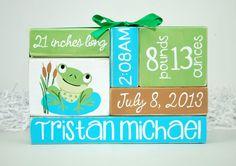 Custom Baby Birth Stats Frog Nursery WoodenBlock by WoodenBlock, $17.00
