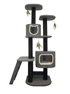 Grey Multi-room Vertical Cat Tower