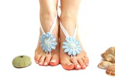 Barefoot sandal, Crochet Barefoot Sandles, Flower Barefoot Sandal, White, Blue, Sexy, Nude shoes, Foot jewelry, Beach, Belly dance, Yoga