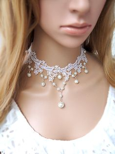 A bit simple but I love the delicacy of those little tiny flowers. like little snowflakes or stars. Porcelain Gothic Vintage White Flower Lace Necklace with White Pearl droplet Pendant Choker Lace Necklace, Lace Jewelry, Jewelry Crafts, Wedding Jewelry, Jewlery, Bridal Accessories, Jewelry Accessories, Fashion Accessories, Jewelry Design