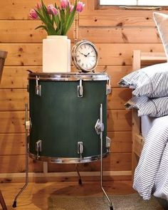 #Upcycling rocks! Use an old drum set to create a side table for your bedroom!