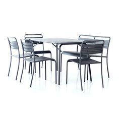 MATGRUPP SUNFUN IRIS BORD + BÄNK + 4 CAFÉSTOLAR - Metall - Välj efter Material - Trädgårdsmöbler - Utemiljö