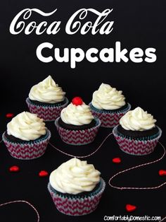Coca Cola Cupcakes with Vanilla Bean Buttercream  | ComfortablyDomestic.com lets the iconic soda flavors shine through these rich, fudgy cupcakes.