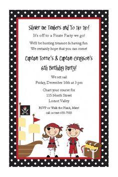 Pirate Twins Invitations - Birthday Party Boys Girls. $29.25, via Etsy.