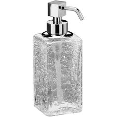 Box Crackled Glass Table Pump Liquid Soap Lotion Dispenser for Bath, Kitchen