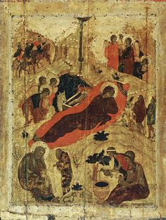 The Nativity The Annunciation, 1405 by Andrei Rublev (Russian: Андре́й Рублёв, also transliterated Andrey Rublyov, born in the 1360s, died 1427 or January 29, 1430), Cathedral of the Annuciation, Kremlin Byzantine Art, Byzantine Icons, Russian Icons, Russian Art, Religious Icons, Religious Art, Andrei Rublev, Arte Latina, Islamic Art