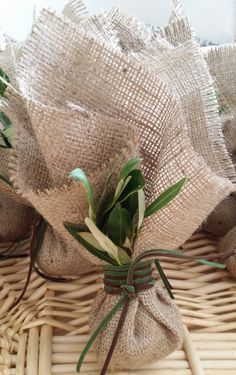 Burlap Favor Bags Olive Leaves bombonieres Greek Boubounieres