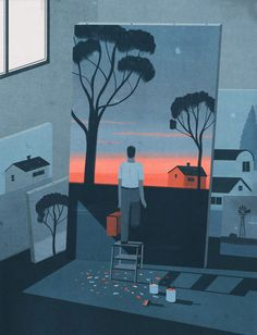 Goodbye artist as we know him,emiliano ponzi illustration Art And Illustration, Illustrations And Posters, Character Illustration, Graphic Design Illustration, Conceptual Illustrations, Photoshop, Bd Comics, You Draw, Art Graphique
