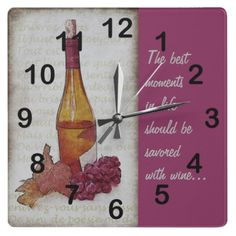 wine bottle, grapes and grape leaf wall clock