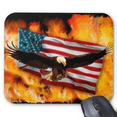 Bald Eagle, US Flag and Flames Patriotic Mousepad
