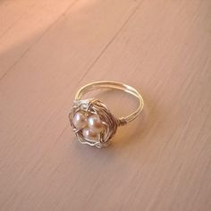Bird's Nest Ring, Sterling Silver and Pearls by CircesHouse