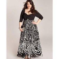 Wish | Plus Size 3/4 Sleeves Printing Chiffon Maxi Party Dress ZB1839