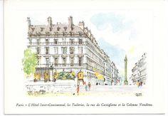 Vintage Paris Postcard L'Hotel Inter Continental by VintagePackRat