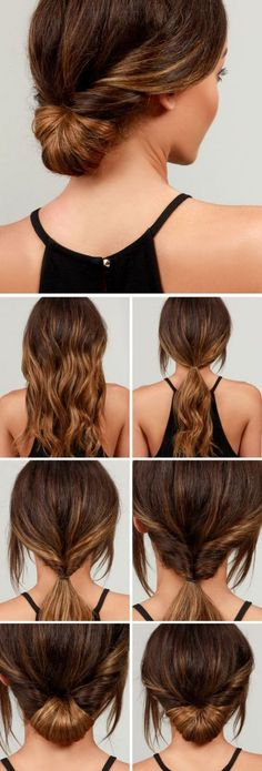 LuLu*s How-To: Simple Chignon Hair Tutorial(Curly Hair Styles) Five Minute Hairstyles, Easy Summer Hairstyles, Office Hairstyles, Haircuts For Long Hair, Quick Hairstyles, Fashion Hairstyles, Hairstyles 2016, Simple Hairdos, Simple Updo