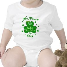 Custom Name Baby Girl's First St. Patrick's Day T-Shirt / Creeper A cute, keepsake design to announce and mark your little ones first St. Paddy's Day!  Easily change the text to your own name and year to  personalize. @zazzle