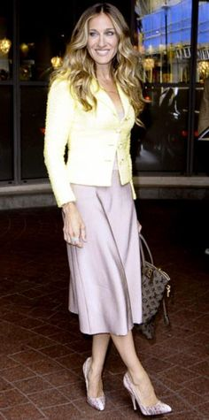 1f745b83ae Sarah Jessica Parker -The actress exited her hotel in a boucle Chanel  jacket and a lavender skirt
