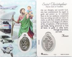 Saint Christopher prayer card comes laminated along with a small oxidized medal. The card also comes with a Patron Saint of Travelers Prayers printed on the back. Made in Canada. Good Prayers, Angel Prayers, Catholic Prayers, St Christopher Prayer, Prayer For Safety And Protection, Prayers For America, Prayer For Travel, Jesus And Mary Pictures, Apostles Creed