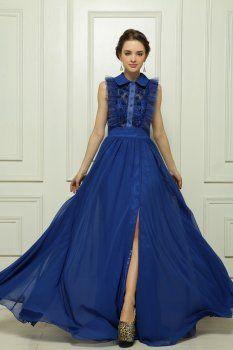 Dentelle robe de soirée bleu perlé
