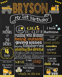 First Birthday Chalkboard  Trucks Birthday by PinknPurplePress