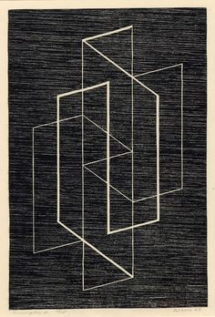 Josef Albers - Multiplex A Abstract linear composition. 1947 Woodcut